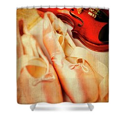 Pointe Shoes And Violin Shower Curtain by Garry Gay