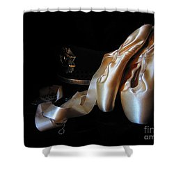 Shower Curtain featuring the photograph Pointe Shoes, Dog Tags,and A Badge by Laurianna Taylor