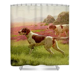 Pointers In A Landscape Shower Curtain by Harrington Bird