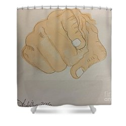 Pointing Finger Shower Curtain