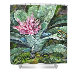 Poison Dart Frog On Bromeliad Shower Curtain