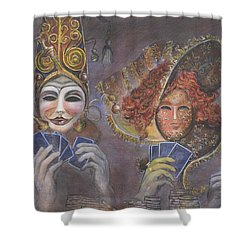 Poker Game Faces Shower Curtain