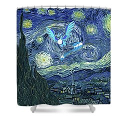 Pokevangogh Starry Night Shower Curtain