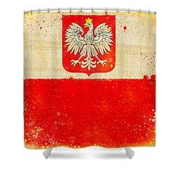 Poland Flag Shower Curtain by Setsiri Silapasuwanchai