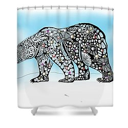 Shower Curtain featuring the digital art Polar Bear Doodle by Darren Cannell