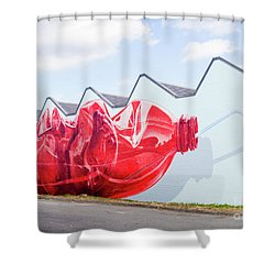 Shower Curtain featuring the photograph Polar Bear In A Coke Bottle by Chris Dutton