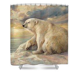 Shower Curtain featuring the painting Polar Bear Rests On The Ice - Arctic Alaska by Svitozar Nenyuk