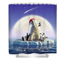 Polar Season Greetings Shower Curtain
