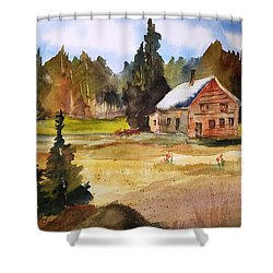 Polebridge Mt Cabin Shower Curtain