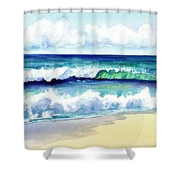 Polhale Waves 3 Shower Curtain by Marionette Taboniar