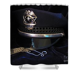 Police And Dog Tags Shower Curtain by Laurianna Taylor