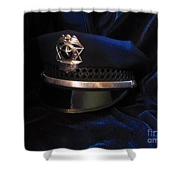 Police Hat Shower Curtain by Laurianna Taylor