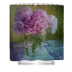 Polite Peonies Shower Curtain by Alexis Rotella