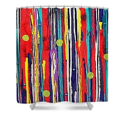Shower Curtain featuring the painting Polka Dot Pour by Carolyn Repka