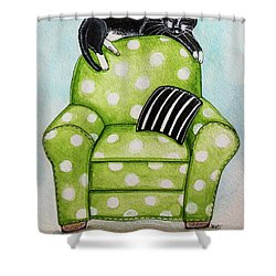Polka Dot Snoozes Shower Curtain by Elizabeth Robinette Tyndall