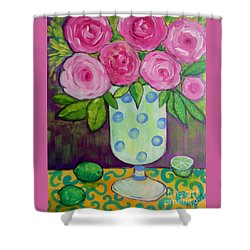 Shower Curtain featuring the painting Polka-dot Vase by Rosemary Aubut