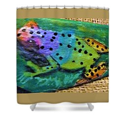 Polka-dotted Rainbow Frog Shower Curtain by Ann Michelle Swadener