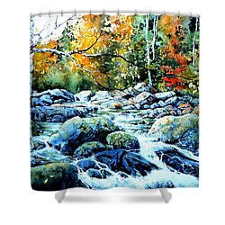 Shower Curtain featuring the painting Polliwog Clearing by Hanne Lore Koehler
