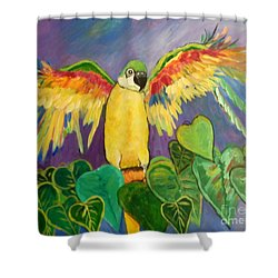 Shower Curtain featuring the painting Polly Wants More Than A Cracker by Rosemary Aubut