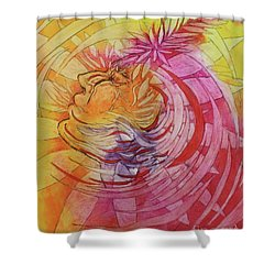 Shower Curtain featuring the drawing Polynesian Warrior by Marat Essex