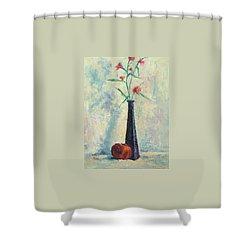 Pomegranate And Black Vase Shower Curtain
