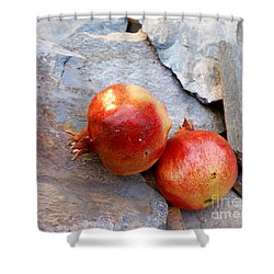 Shower Curtain featuring the photograph Pomegranates On Stone by Cindy Garber Iverson