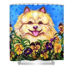 Shower Curtain featuring the painting Pomeranian With Pansies by Laura Aceto