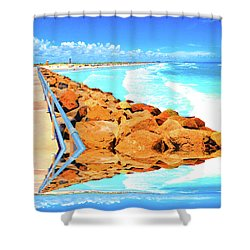 Ponce Inlet Jetty  Shower Curtain