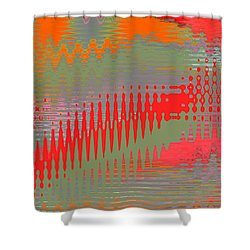 Shower Curtain featuring the digital art Pond Abstract - Summer Colors by Ben and Raisa Gertsberg
