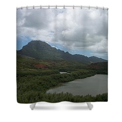 Pond And Mountain Landscape Shower Curtain