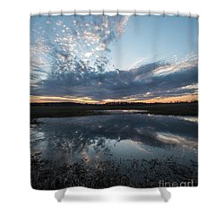 Pond And Sky Reflection3a Shower Curtain