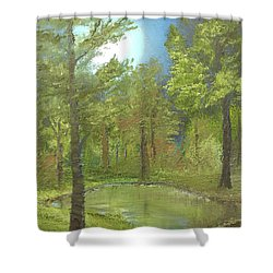 Shower Curtain featuring the mixed media Pond by Angela Stout
