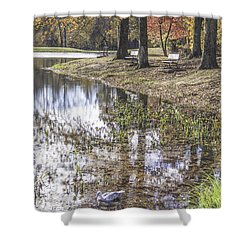 Pond Bench Ponderings Shower Curtain