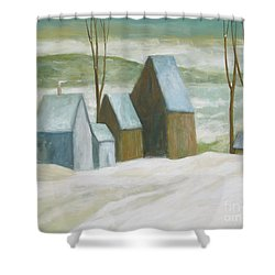 Pond Farm In Winter Shower Curtain
