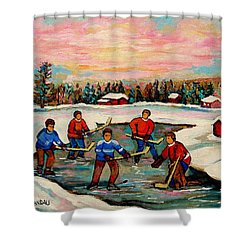 Pond Hockey Countryscene Shower Curtain by Carole Spandau