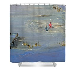 Pond Hockey Shower Curtain