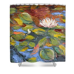 Pond Play Shower Curtain by Trina Teele
