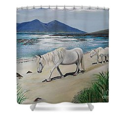 Ponies Of Muck- Painting Shower Curtain by Veronica Rickard