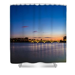 Shower Curtain featuring the photograph Pont Des Catalans And Garonne River At Night by Semmick Photo