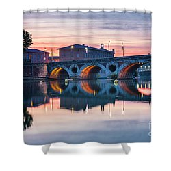 Shower Curtain featuring the photograph Pont Neuf In Toulouse At Sunset by Elena Elisseeva