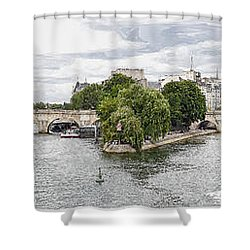 Shower Curtain featuring the digital art Pont Neuf Panorama by Kai Saarto