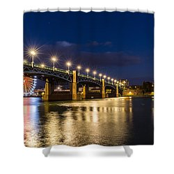 Shower Curtain featuring the photograph Pont Saint-pierre With Street Lanterns At Night by Semmick Photo