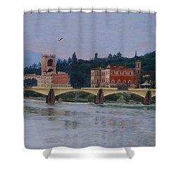 Pont Vecchio Landscape Shower Curtain by Lynne Reichhart