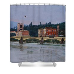 Ponte Vecchio Landscape Shower Curtain