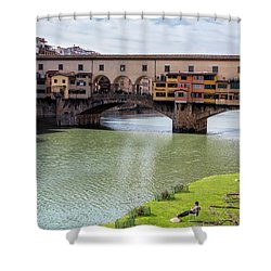Shower Curtain featuring the photograph Ponte Vecchio Florence Italy II by Joan Carroll