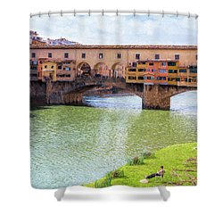 Shower Curtain featuring the photograph Ponte Vecchio Florence Italy II Painterly by Joan Carroll