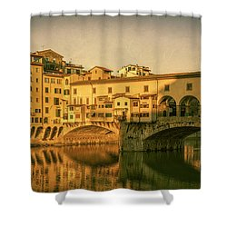 Shower Curtain featuring the photograph Ponte Vecchio Morning Florence Italy by Joan Carroll