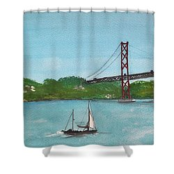 Ponte Vinte E Cinco De Abril Shower Curtain by Carole Robins