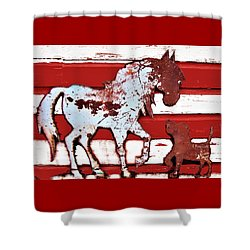 Shower Curtain featuring the photograph Pony And Pup by Larry Campbell