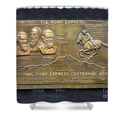 Pony Express Brass Plaque Shower Curtain